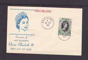 Dominica 1953 FDC 1st day cover QE II coronation Uncertain Cachet