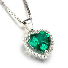 925 Silver Emerald Gemstone Crystal Love Heart Necklace Pendant Women Jewelry