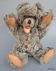 Hermann Zotty Teddy Bear 11in 28cm Mohair Plush Squeaker Glass Eyes ID Tag 1960s