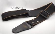 Black Leather ends Adjustable Guitar Strap For Electric Acoustic Guitar Bass New