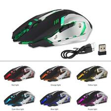 Rechargeable Wireless X7 LED Backlit Optical Ergonomic USB Gaming Mouse Black EN