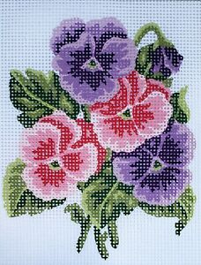 "Printed Canvas Half Cross Stitch Embroidery Kit - Flower 8""x10"" 43.105 GobelinL"