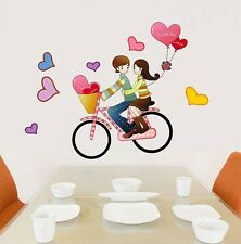 Love Couple Bike Riding Heart Balloon Wall Decal Sticker Vinyl Art Home Decor