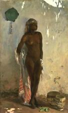 Nude African Female Slave with Tambourine 1880 Frank Buchser 7x4 Inch Print