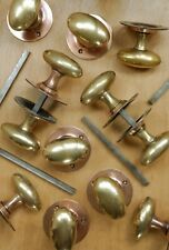 X1 PAIR Vintage Copper Plated Brass Door Knobs Antique Goose Egg Mortice Handles