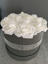 Stunning Large grey Hat Box Of Flowers White Everlasting Roses & Diamante