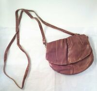 Small Brown Leather Handbag Purse w/Removable Shoulder Strap