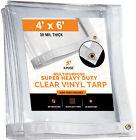 4' x 6' Heavy Duty 30 Mil Clear PVC Vinyl Tarp, Waterproof, Mildew Resistant