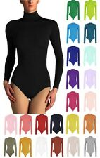 Womens Long Sleeve Turtle Polo Neck Bodysuit Leotard Top UK 8-28