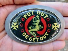 Vtg PINUP Belt Buckle NUDE LADY Put Out Or Get Out Opener ART Pewter RARE VG++