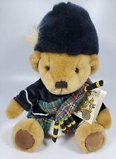 Harrods Knightsbridge Teddy Bear Plush Piper Scottish Bagpipes Tartan Brown