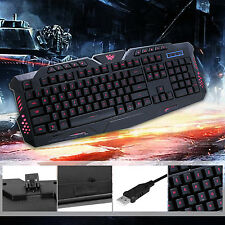 114-Key Adjustment 3 Colors LED Backlit Wired USB Multimedia PC Gaming Keyboard