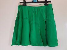 Topshop Bright Green White Waistband Pleated Summer Skater Skirt Size 10