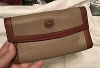Dooney Bourke Vintage AWL All Weather Leather Wallet Checkbook Taupe British Tan