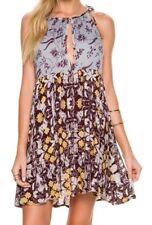 NWT Free People Boho Floral Print Mini Wildest Dreams Slip Dress Blue Size S
