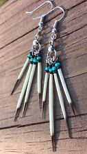 Turquoise and black Quill Porcupine Quill Earrings