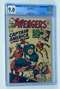 AVENGERS #4 Marvel Comics 1964 CGC 9.0 Captain America 1st Silver Age Appearance
