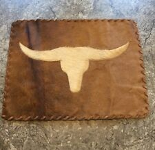 LongHorn Cowhide Leather Placemat or wall hanging Texas Cow Bull Never Used b