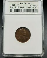 1947 P Lincoln Wheat Cent Penny ANACS MS64 RB DDO FS-021.3 FS-101 Double Die OBV