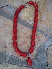 Necklace Southwest Beach Bridal Nautical Chunky Red Coral Bead Silver