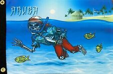 """Pirate Off Duty Aruba Snorkeling Diver 12"""" x 18"""" Two Sided Flag Boat Ship"""