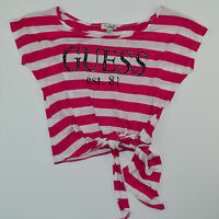 vtg 90s Women's GUESS JEANS Striped T-Shirt Size XS/S Spell Out Red White