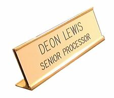 GOLDEN Custom name Interchangeable Desk Name Plate Engraved in Black 2 x 8 size