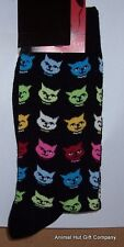 Coloured Cat Faces on Black Mens/Womens Socks