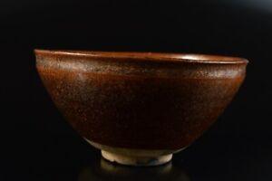 L8041: Japanese Old Seto-ware Brown glaze TEA BOWL Tenmoku chawan, auto