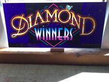 """1994 BALLY GAMING INC. SLOT MACHINE GLASS PANEL """"DIAMOND WINNERS"""""""