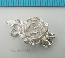 1x STERLING SILVER 2-STRAND ROSE FLOWER PEARL BOX CLASP 11mm #172