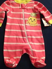"Preemie baby girl footie ""Garanimals"" rosy pink ""so sweet pineapple"""