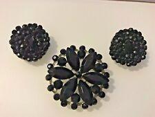 Pin/Pendant Crystal Beads Clip Earrings Vintage Estate Black Rhinestone Brooch