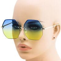 Women Oversized Rimless Sunglasses Blue Yellow Gradient Lens Metal Frame Retro