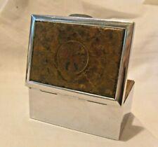 More details for vintage austrian chrome & wooden cigar box 1930s national eagle coat of arms