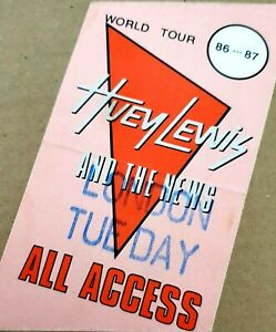 Huey Lewis and the News. World Tour 1986/87 All Areas Pass. Cloth.
