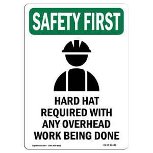 OSHA SAFETY FIRST Sign - Hard Hat Required With Symbol| Made in the USA