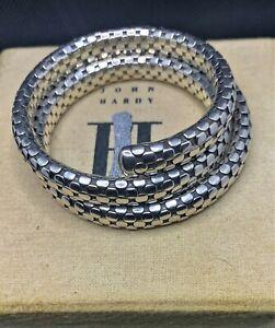 John Hardy Sterling Silver Heavy Dot Double Coil Arm Wrap Flex Bracelet Bangle
