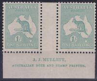 K498) Australia 1920 Blue Green Kangaroo Die IIB, Mullett Imprint Pair
