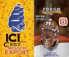 Hockey NHL Canadien of Montreal 1995-1996 Official Schedule (Patrick Roy Forum)