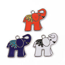 10x Colorful Alloy Enamel Elephant Pendants Dangle Charms Findings Platinum 25mm