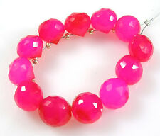 12  FUSCHIA HOT PINK CHALCEDONY FACETED ONION BRIOLETTE BEADS 8 mm C65