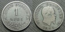 "ITALY  #  1 lira 1863 "" M - BN "" - Vittorio Emanuele II"