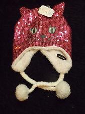 Kitty Cat Winter Cap new cute pink sequined children's hats character Hedi cap
