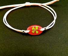 Real four leaf clover adjustable bracelet pink with classic oval shape