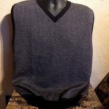 Sweater Vest Wool Houndstooth Sz L Paul Fredrick Puppy Tooth Black Gray Italy