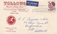 APH274) Australia 1963 small airmail advertising cover for Tollows Florist