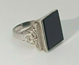 ANTIK Herren Siegelring mit Onyx 800er Silber Gr. 62 Erbstück