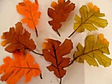 48 Artificial silk Fabric oak Leaves mini stem Assorted colours craft/decoration