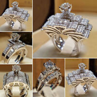 US Women Sapphire Silver Crystal Ring Wedding Engagement Jewelry Gift Sz5-12